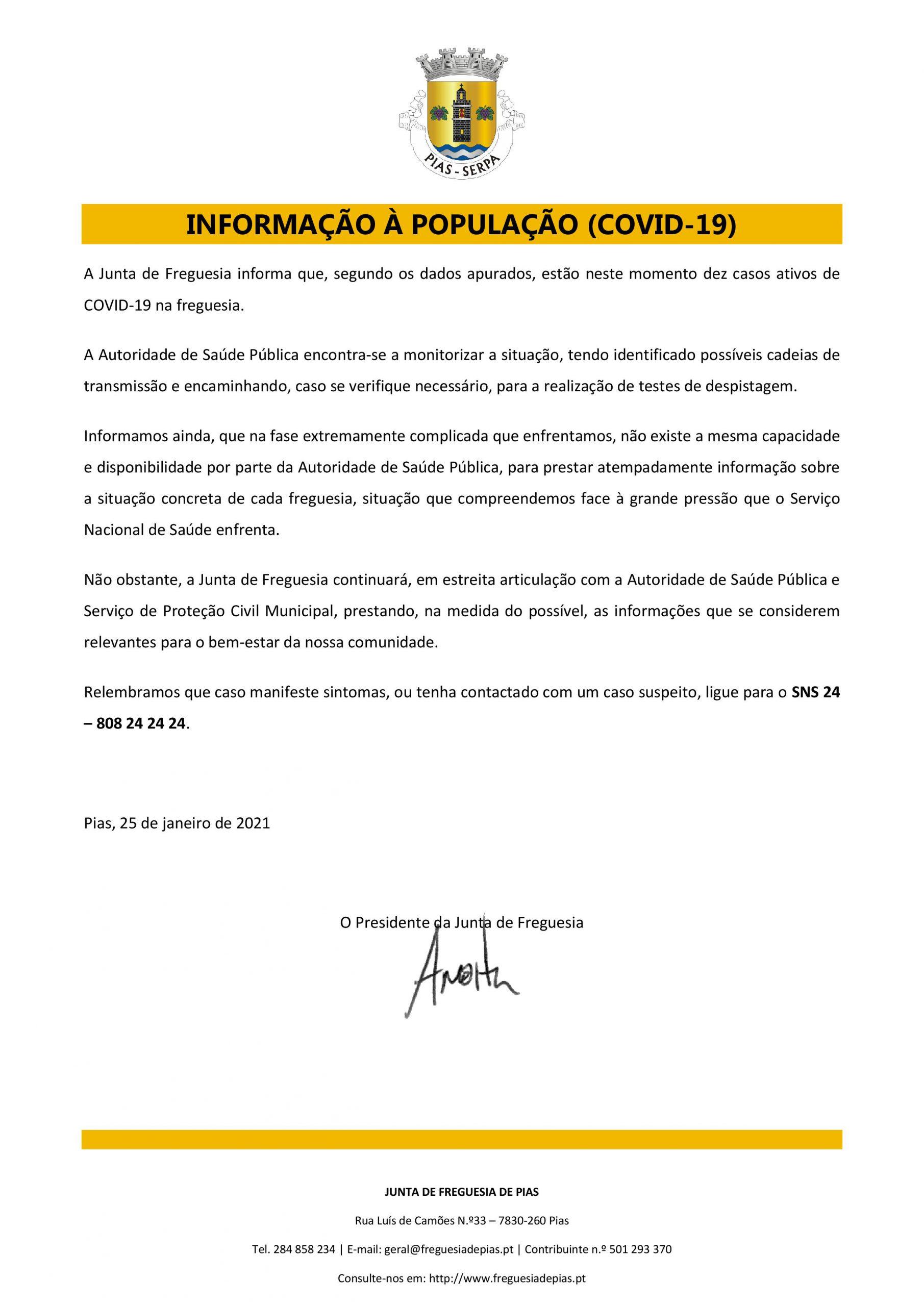 Informação à população covid-19
