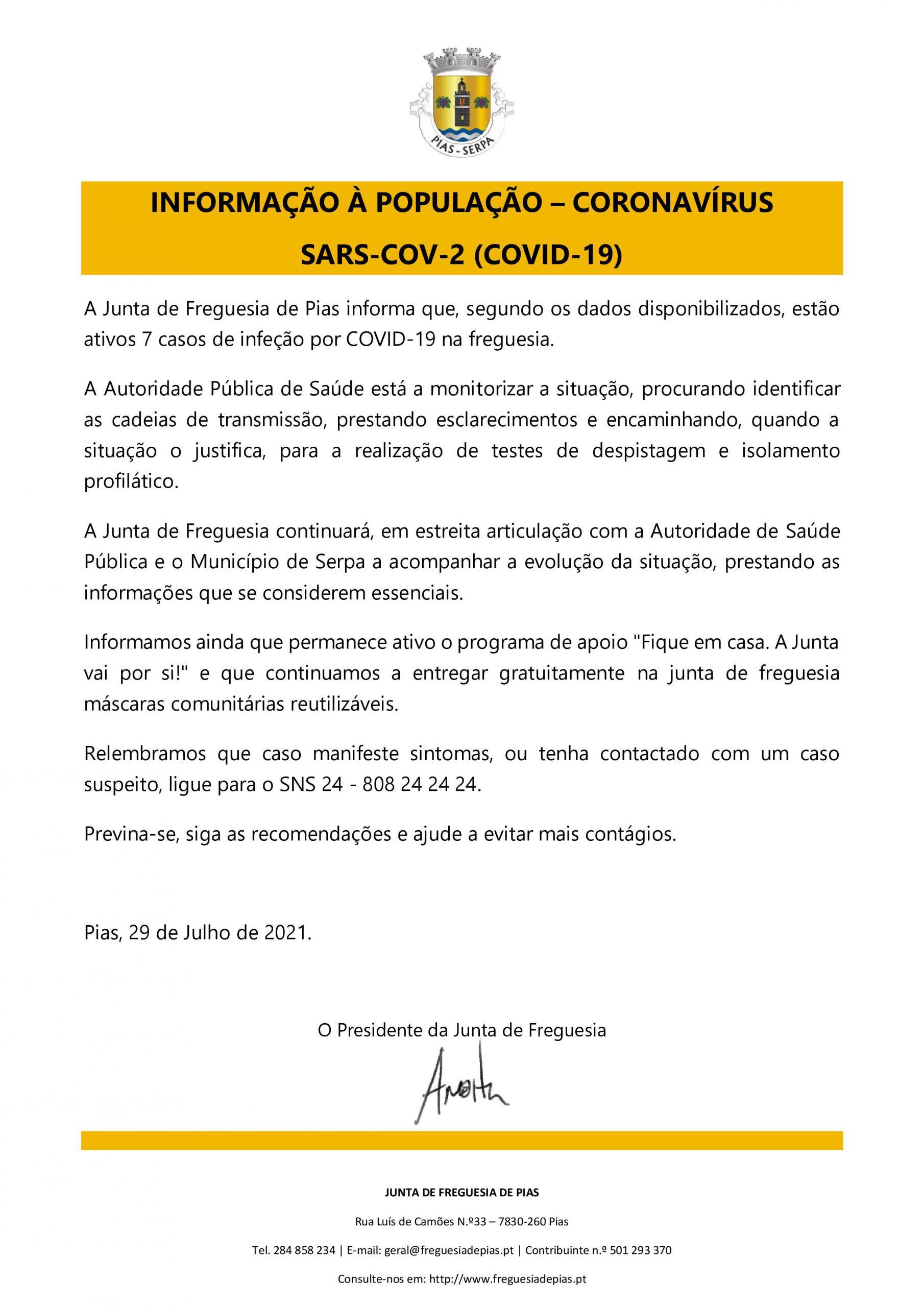 Informação à população - julho2021